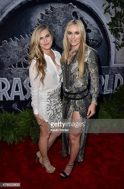 Ski racer Lindsey Vonn and Karin Kildow attend the Universal Pictures' Jurassic World premiere at the Dolby Theatre on June 9 2015 in Hollywood...