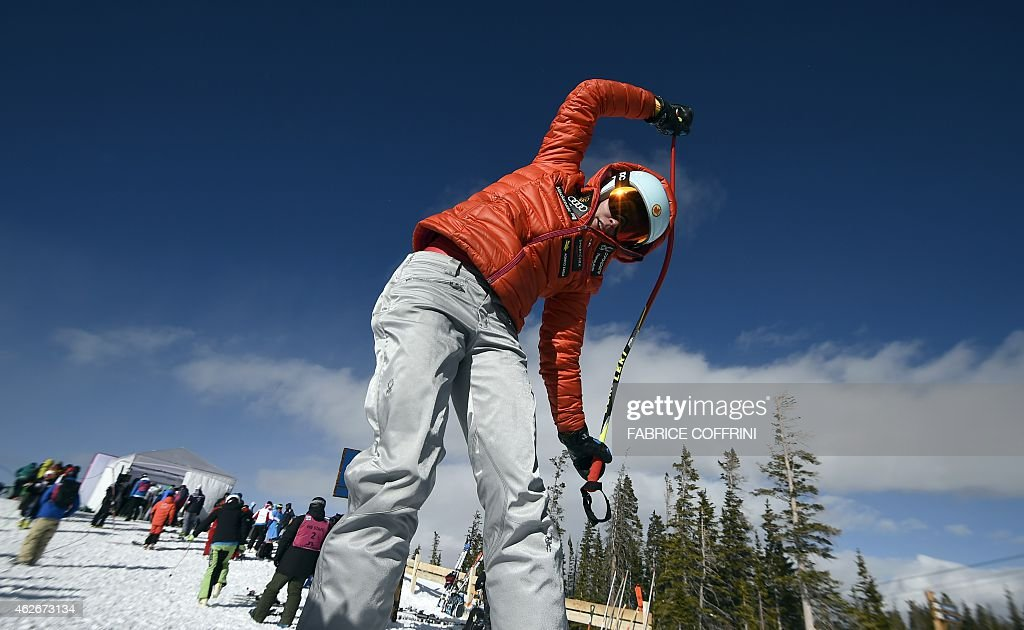 Ski racer Marie Michele Gagnon of Canada stretches before racing on the Raptor course during women's downhill training for the 2015 World Alpine Ski Championships February 2, 2015 in Beaver Creek, Colorado.
