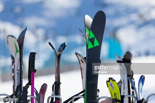 ski rack - andorra stock pictures, royalty-free photos & images