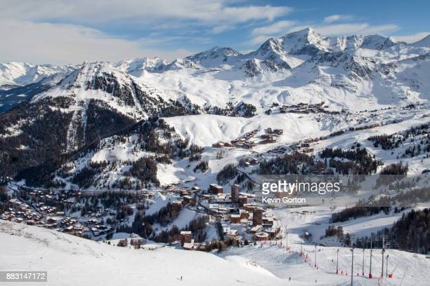 ski resort and mountain - la plagne stock photos and pictures