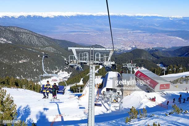 ski resort chair lifts in bansko, bulgaria - pirin mountains stock pictures, royalty-free photos & images