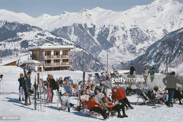 A ski resort in Courchevel in the French Alps circa 1970