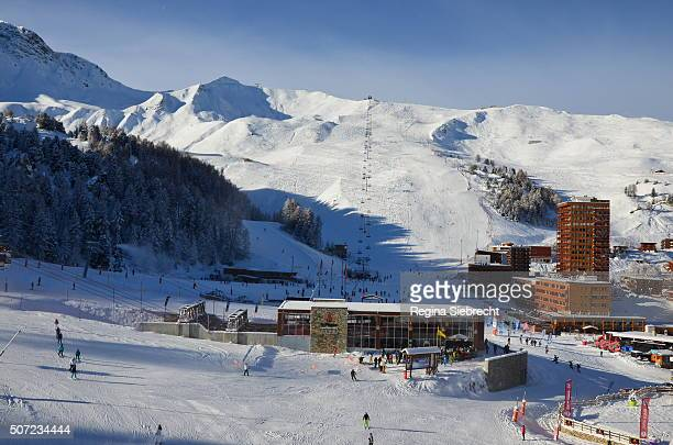 ski resort in french alps - la plagne stock photos and pictures