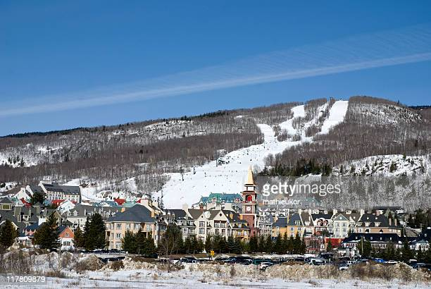 ski resort – panoramic view - mont tremblant stock pictures, royalty-free photos & images