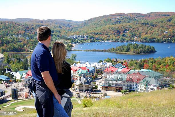 ski resort- panoramic view - mont tremblant stock pictures, royalty-free photos & images