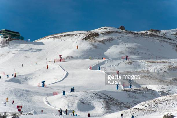 ski resort val gardena, skiing dolomites, italy - alta badia stock pictures, royalty-free photos & images
