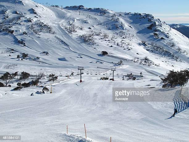 Ski run at Mount Blue Cow part of the Perisher ski resort in the Snowy Mountains Kosciuszko National Park New South Wales Australia