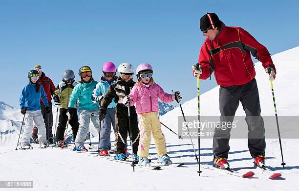 ski school - following stock pictures, royalty-free photos & images