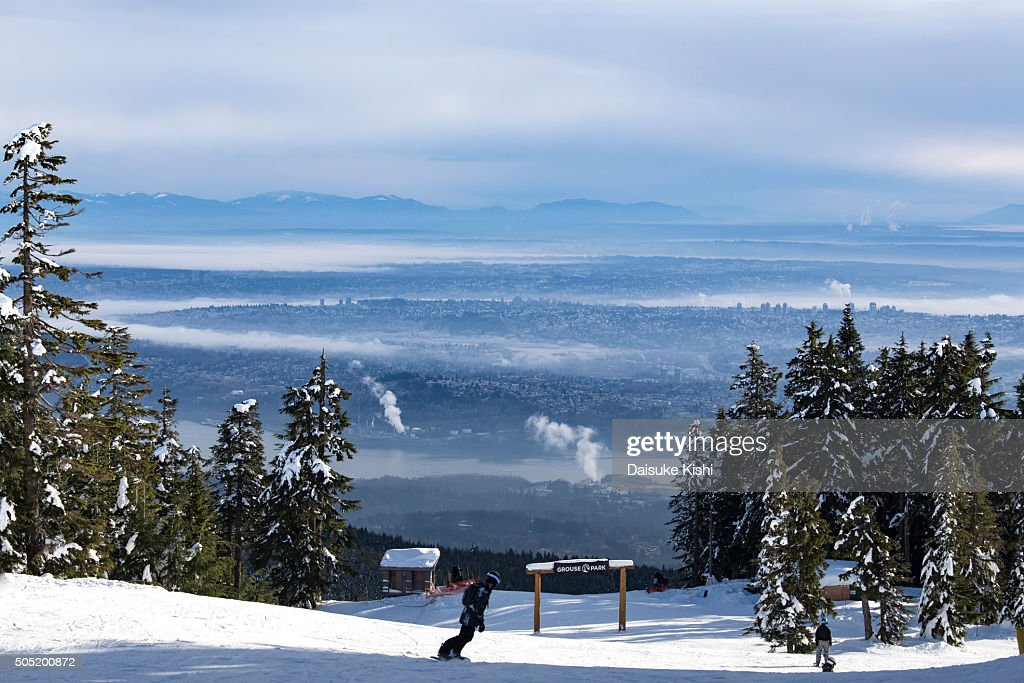 A Ski Slope at Grouse Mountain, Vancouver, Canada : Stock Photo