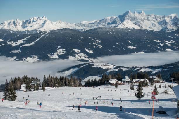 Ski slope at the Griesenkareck, 1991m, region Ski amade, behind Dachstein massif, municipality Flachau, Salzburger Land, Austria