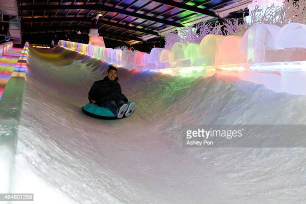 """Ski slope ice sculpture is displayed at """"Fantasy Ice World"""" on January 23, 2014 in Taipei, Taiwan. Ice sculptors from the famous Harbin Ice Festival..."""