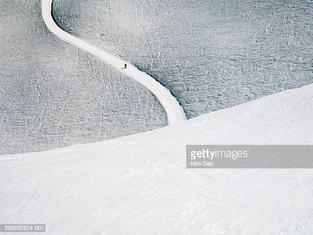 ski slope in mountains - meribel stock photos and pictures