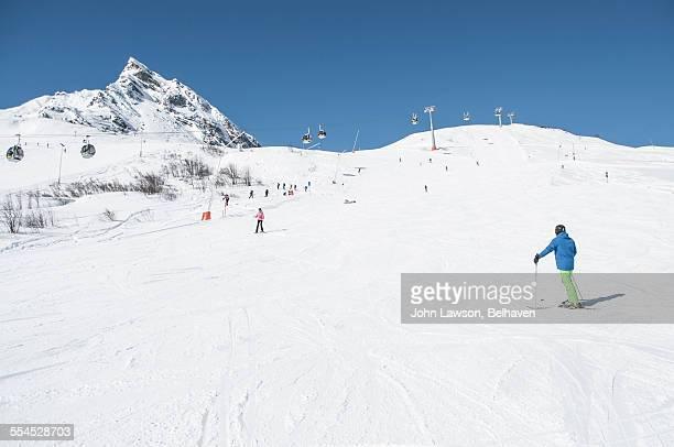 ski slope, silvretta. - gondel stock-fotos und bilder