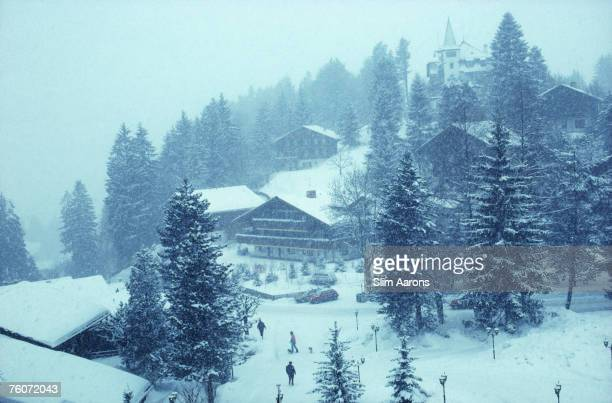 Ski slopes and chalets seen from the Gstaad Palace hotel resort Switzerland February 1992