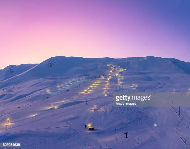 Ski slopes at twilight, Akureyri, Iceland