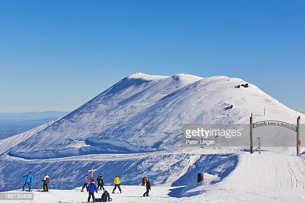 Ski slopes from summit of Mount Hutt Ski fields