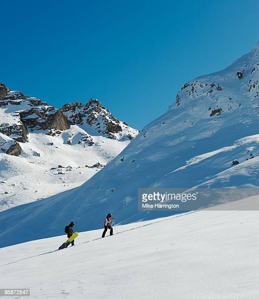ski slopes, la plagne, france - la plagne stock photos and pictures