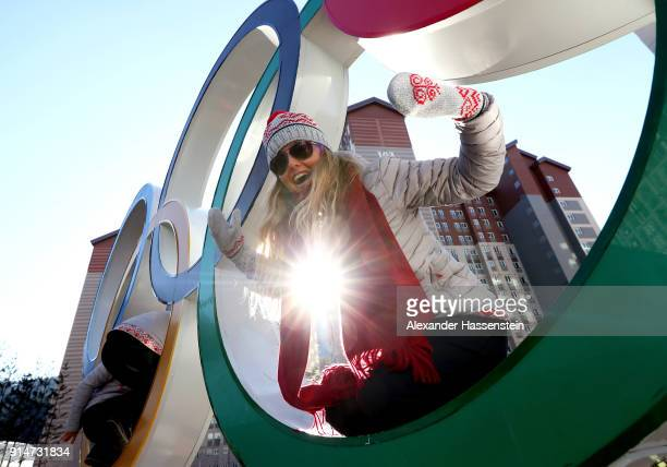 Ski Slopestyle coach Chanelle Sladics of Team Slovakia poses on the Olympic Rings in the Athletes' Village during previews ahead of the PyeongChang...