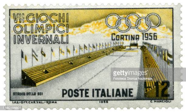 Ski Stadium Postage stamp from the series dedicated by the Italian Post Office to the 7th Winter Olympic Games held in Cortina d'Ampezzo from 26...