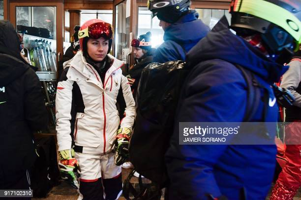 Ski star Mikaela Shiffrin of the US leaves the venue after the Women's Giant Slalom race was postponed because of strong winds at the Jeongseon...