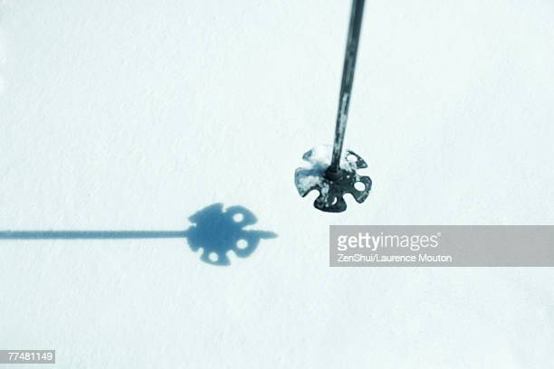 ski stick over snow, close-up - ski pole stock pictures, royalty-free photos & images