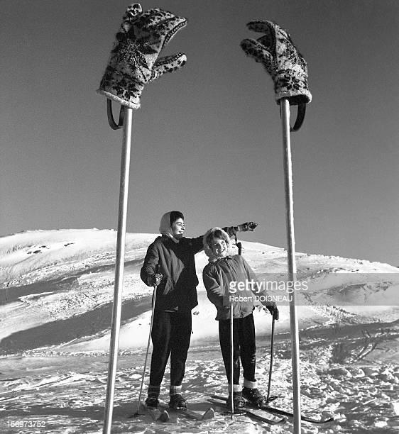 Ski sticks and gloves, 1957 in Laffrey, France.