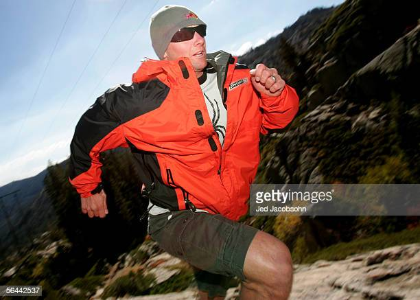 Ski team member Daron Rahlves runs in the mountains on Donner Pass in Truckee California on October 4th 2005 Rahlves trains in the hills above his...