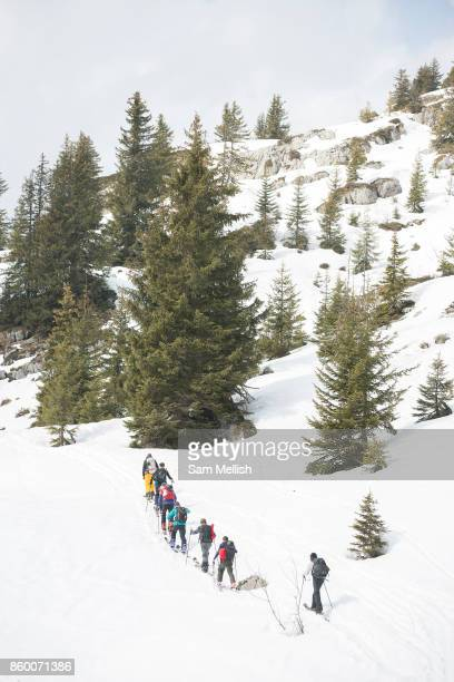 Ski toruing group in the Vallée de la Manche in Morzine / Portes du Soleil ski area on 22nd March 2017 in France
