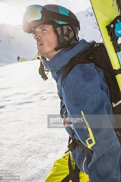 Ski tourer in the mountains