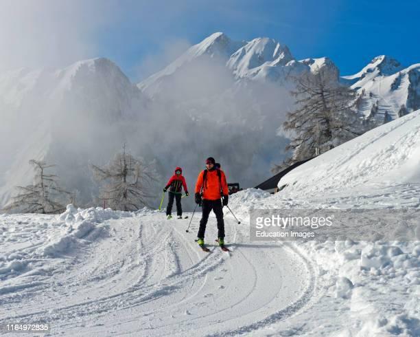 Ski tourers in the Loutze Region Ovronnaz Valais Switzerland