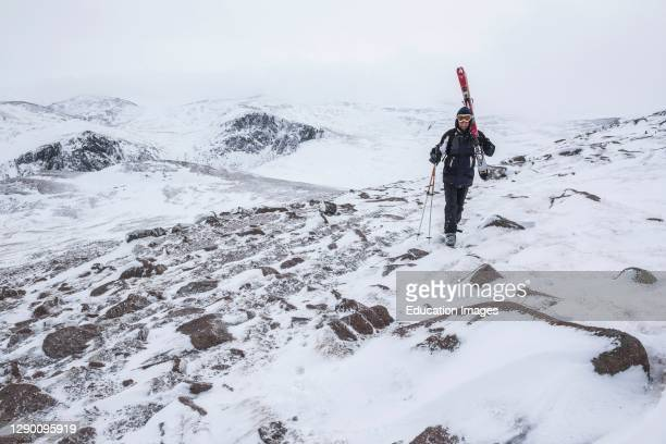 Ski touring at Cairngorm Mountain Ski Resort, Aviemore, Cairngorms National Park, Scotland, United Kingdom, Europe.