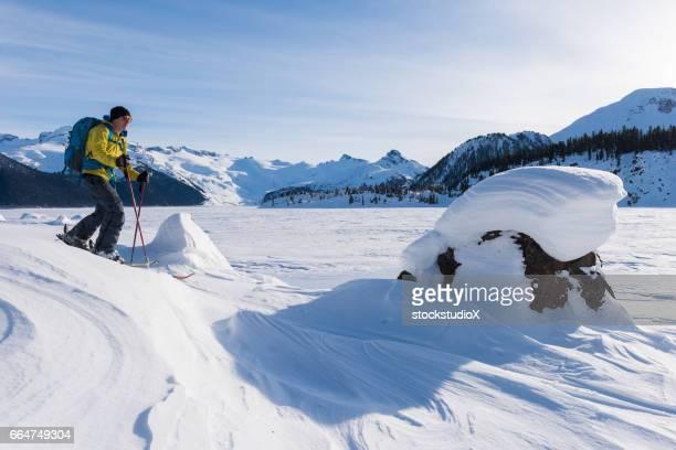 Ski touring in a winter wonderland