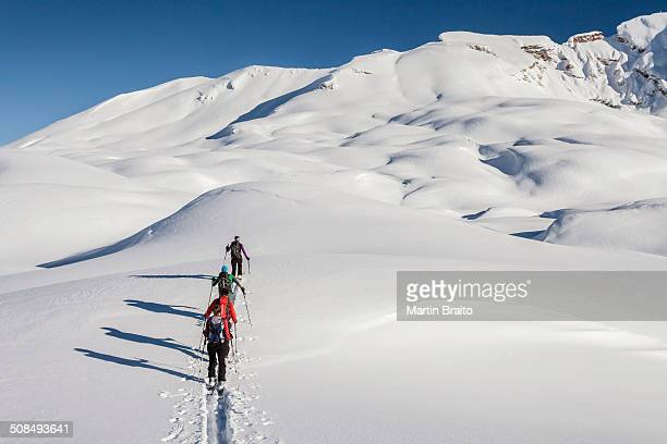 ski touring in the ascent to the seekofel in the fanes-senes-prague in the dolomites, in the back right the seekofel, left the kleiner seekofel, st. vigil, fanes-sennes-prags nature park, puster valley, province of south tyrol, italy - back country skiing stock pictures, royalty-free photos & images