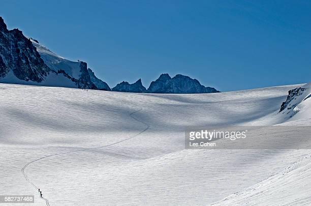 Ski touring on the Haute Route between Cabane Bertol and Zermatt