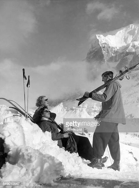 ski tourists in the Bernes Oberland late fifties