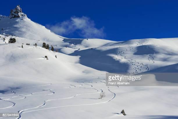 Ski tracks downhill near Sellajoch pass, Dolomites, South-Tirol, Italy