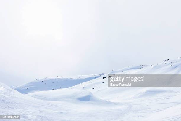 Ski Tracks in Empty Mountain Landscape