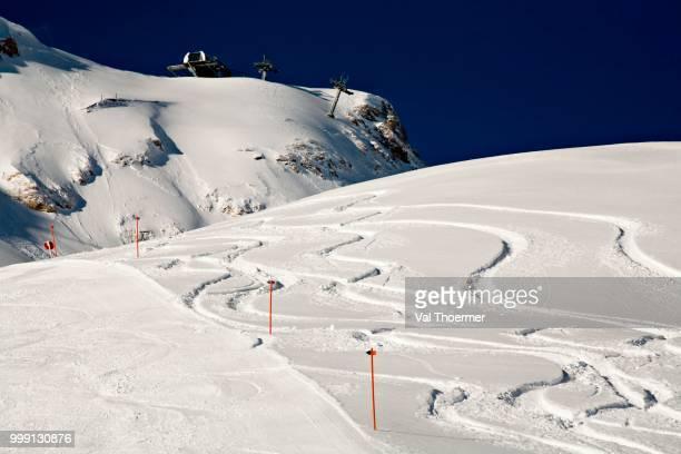 ski tracks in the snow, winter, zugspitze area, alps, bavaria, germany - val thoermer stock-fotos und bilder