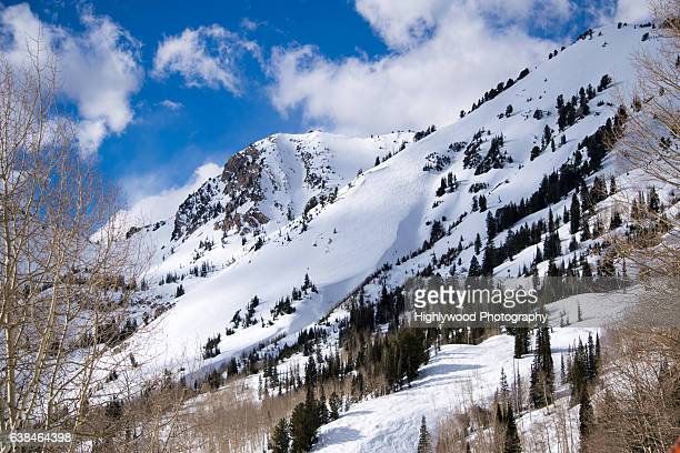 ski tracks on the mountain - highlywood stock pictures, royalty-free photos & images