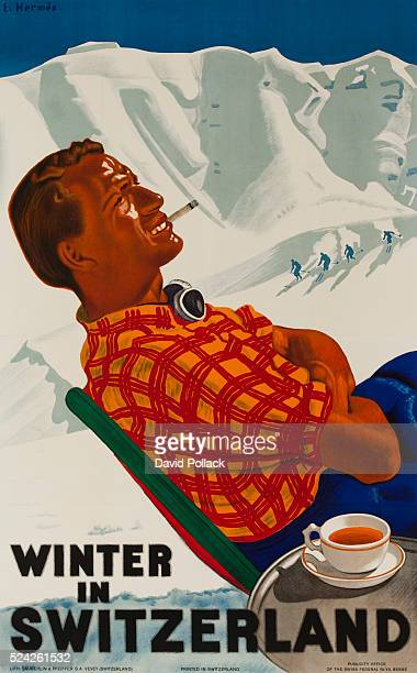 1938 Ski travel poster showing apres ski poster mountainside smoking and drinking a cup of tea