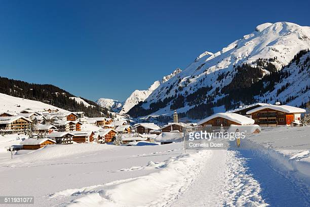 ski village lech am arlberg - lech stock photos and pictures