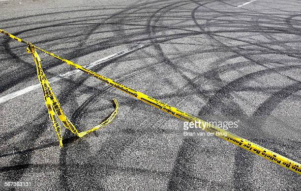 WORTH CA FEBRUARY 26 2015 Skid marks at drag racing scene where two pedestrians were killed by the driver of a Ford Mustang who fled after the crime...