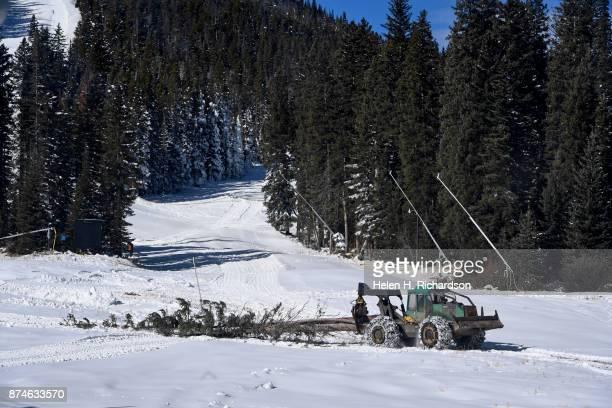 NEDERLAND CO NOVEMBER 9 A skidder pulls cut trees off of Eldora mountain as crews work hard before opening day at Eldora ski area on November 9 2017...