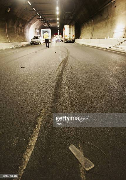 Skidmarks are seen on the road inside Melbourne's Burnley Tunnel are seen after a fatal colision on March 23 2007 in Melbourne Australia Hundreds of...