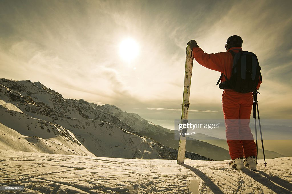 Skier Against Spectacular Mountainscape : Stock Photo