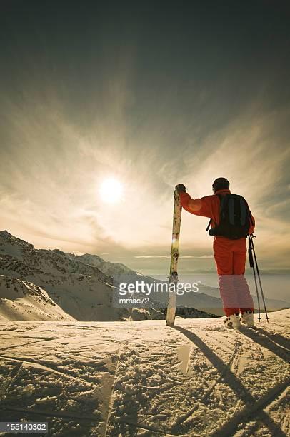 Skier Against Spectacular Mountainscape