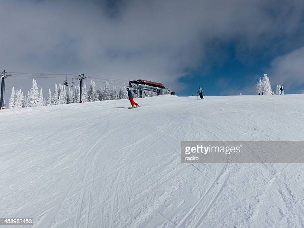 skier and snowboarder, steamboat, colorado - steamboat springs colorado stock photos and pictures