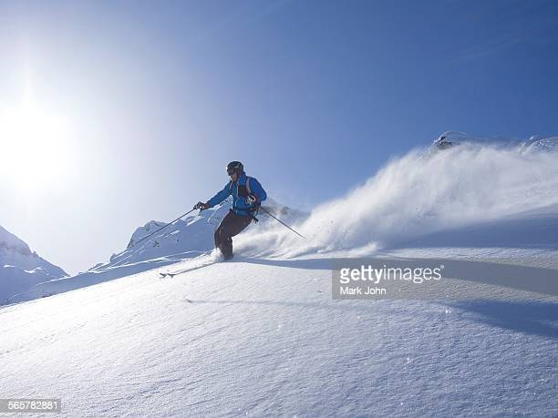 Skier at Combe de Gers, Flaine, France