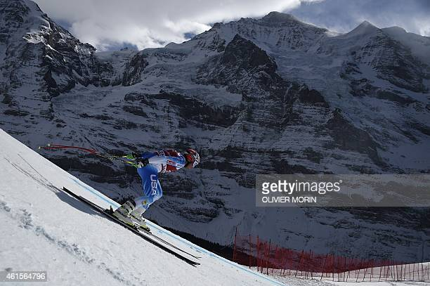 US skier Bode Miller takes part in the FIS Alpine World Cup Men's Downhill training in Wengen on January 15 2015 AFP PHOTO / OLIVIER MORIN