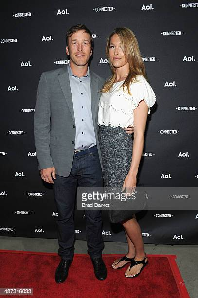 Skier Bode Miller with wife Morgan Beck attend the 2014 AOL NewFronts at Duggal Greenhouse on April 29 2014 in New York New York